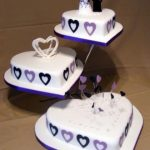 3082 3 tier heart wedding cakes
