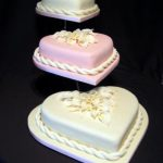 3087 3 tier heart wedding cakes