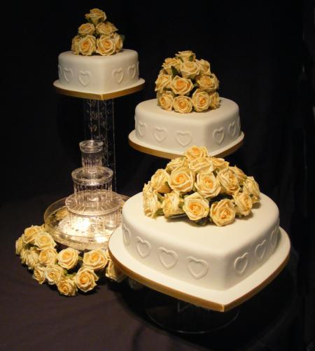 four tier wedding cakes with fountains with barker bakes ltd 14434