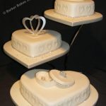 3126 3 tier heart wedding cakes