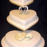 3044 3 tier heart wedding cakes