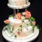 3106 wedding cakes with sugar drapes