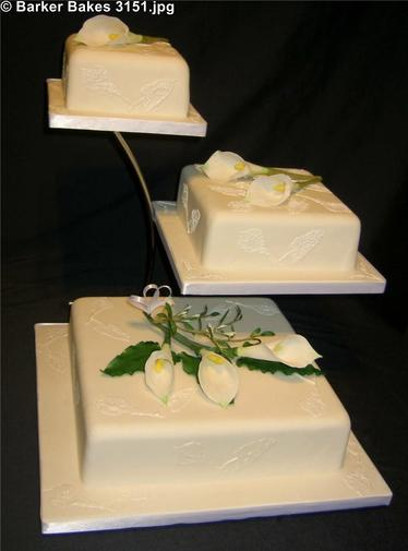 3151_wm 3 Tier Square Wedding Cakes