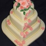 3022 3 tier heart wedding cakes