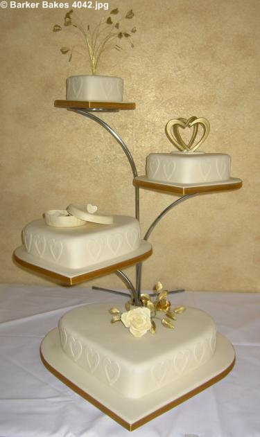 4042 4 tier heart wedding cakes