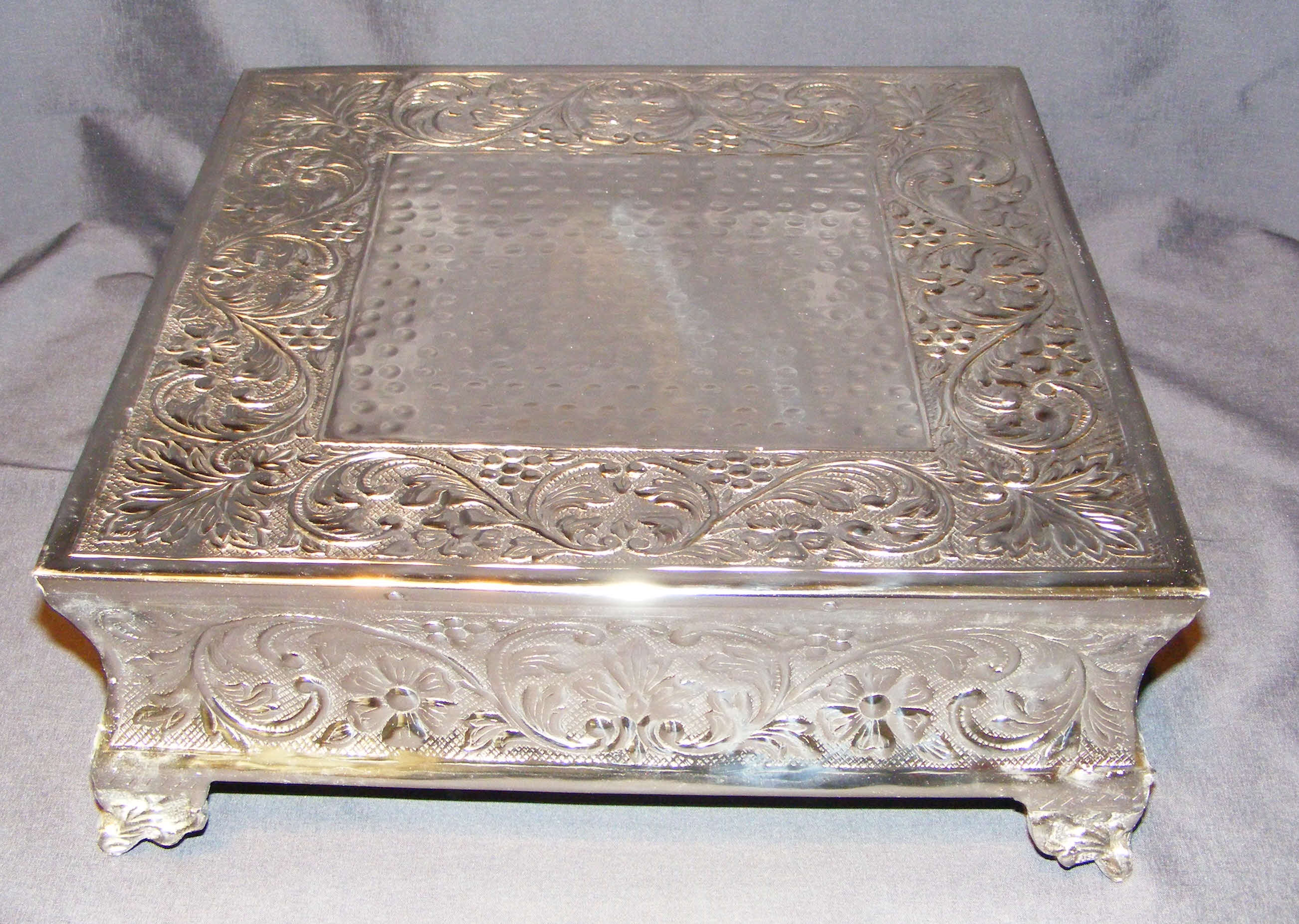 square silver cake stands decorative