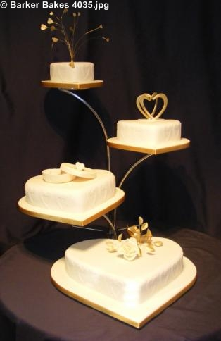 4 Tier Heart Wedding Cakes Barker Bakes Ltd