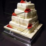 4025 4 tier square wedding cakes