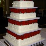 4031 4 tier square wedding cakes