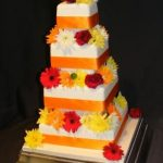 4046 4 tier square wedding cakes