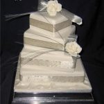 4011 4 tier square wedding cakes